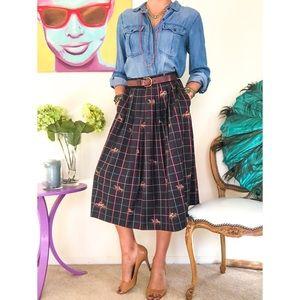 Vintage Horse Print Pleated Midi Skirt